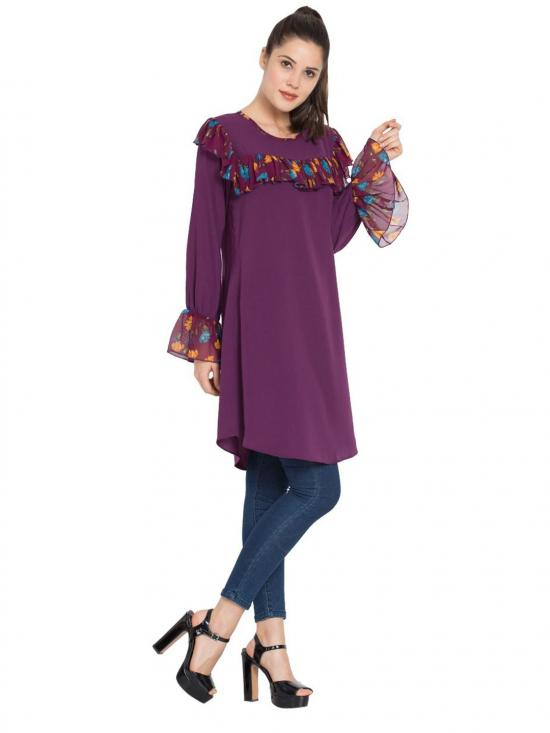 Nida Matte Designer Kurti with Contrast Ruffles and Bell Sleeves in Purple