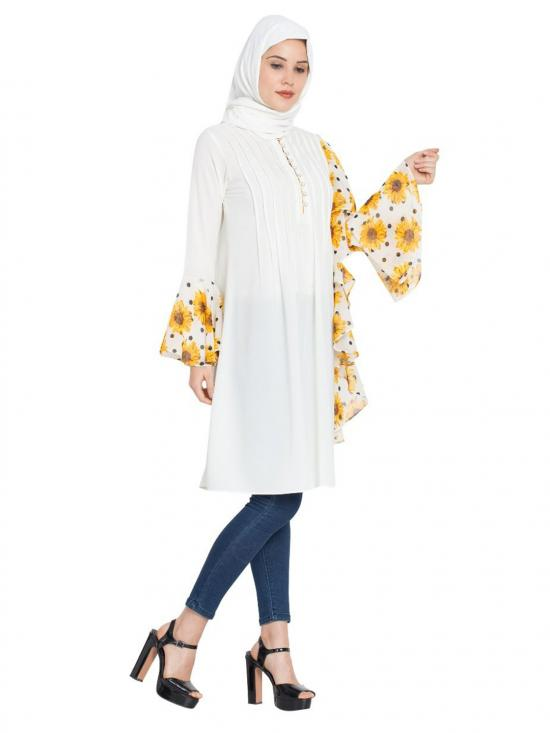 Nida Matte Designer Frilled Kurti with Floral Print in Off White