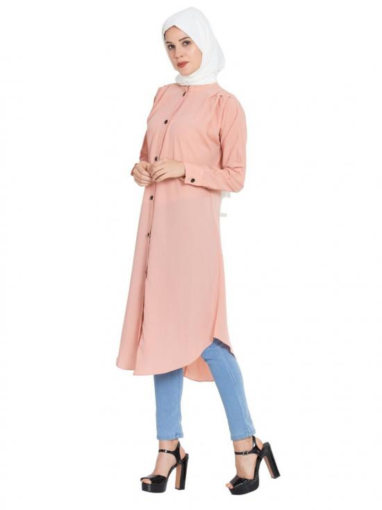 Nida Matte Front Open Kurti With Pleats On Shoulders In Pink