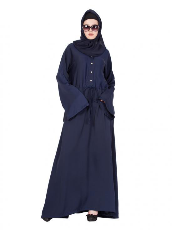 Nida Matte Classy Abaya in Navy Blue