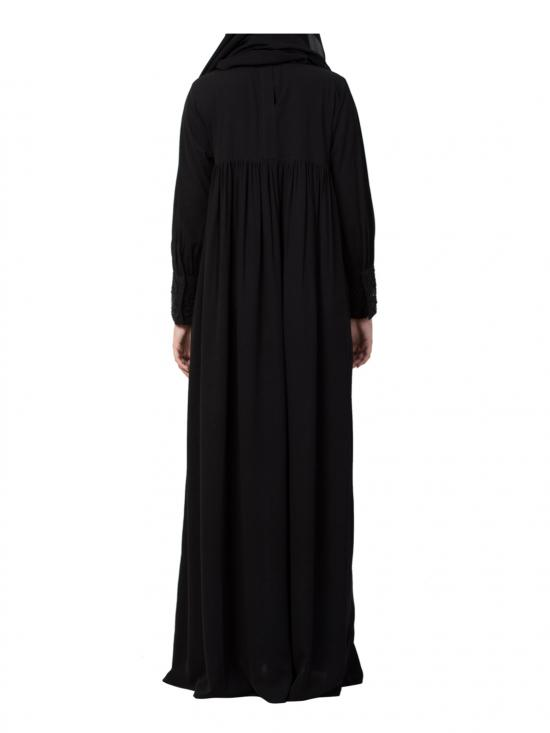 Nida Matte Abaya Lose Fit With Pearl Lace Work In Black