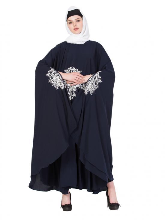 Nida Matte Embroidered Irani Kaftan in Navy Blue