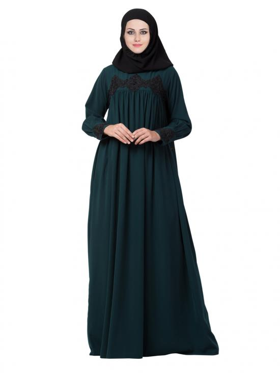 Nida Matte Abaya Lose Fit Like With Peal Lace Work In Green