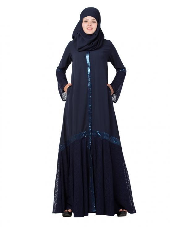 Nida Matte Fashionable Abaya With Designer Net Layer In Blue