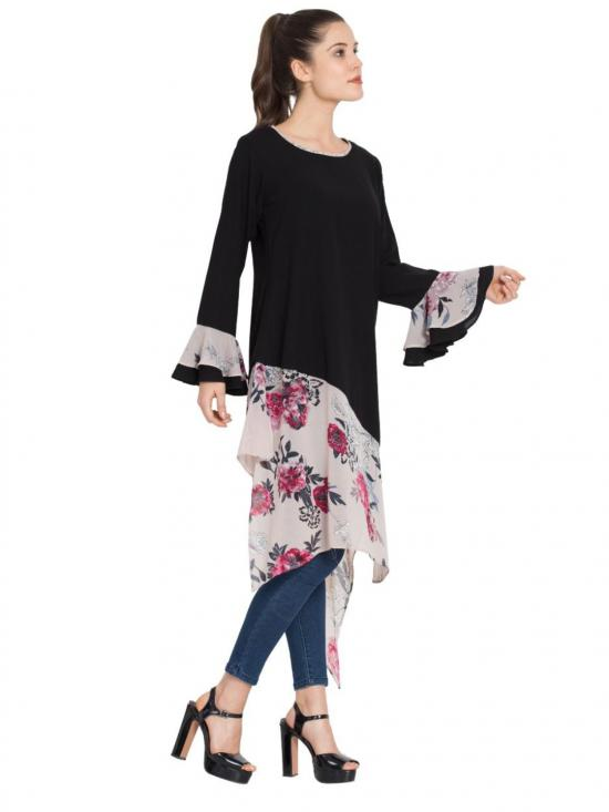 Nida Matte Designer Kurti with Contrast Bottom and Bell Sleeves in Black and Beige