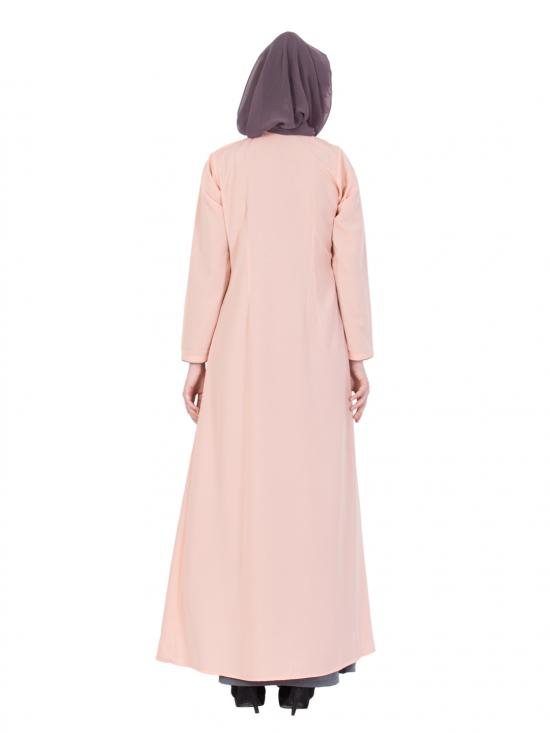 Nida Matte Two Piece Abaya With Embroidered Cardigan in Pink and Grey