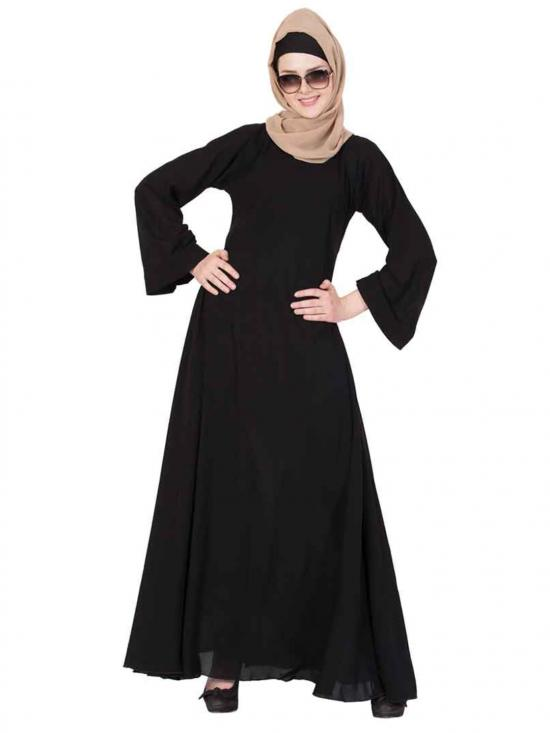 Premium Nida Umbrella Flare Abaya with Biased Cut in Black