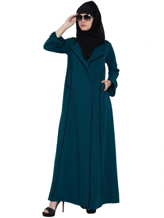 Polytwill Faria Coat Style Abaya In Rama Green And Black