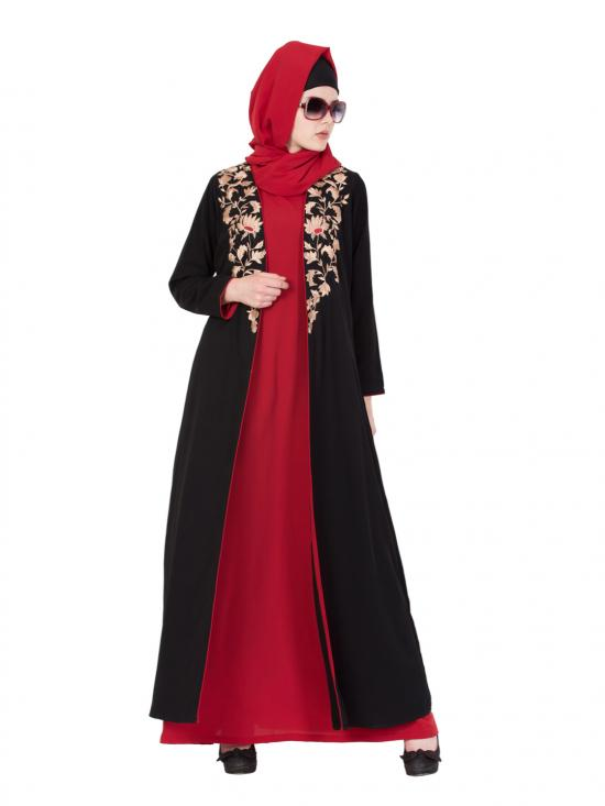 Nida Matte Two Piece Abaya With Embroidered Cardigan In Black And Red