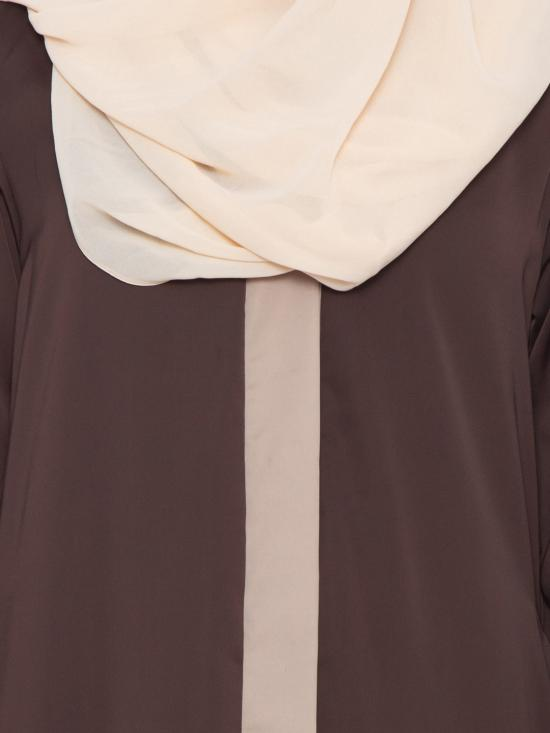Premium Nida Satin Maria Front Open Abaya in Brown and Beige