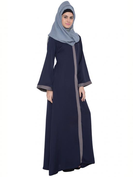 Premium Nida Satin Maria Front Open Abaya in Blue and Grey