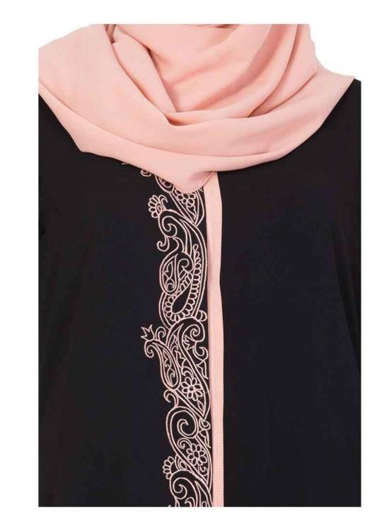 Nida Matte Embroidered Front Open Abaya in Black and Peach