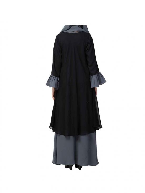 Dual layer Modest Abaya With Bell Sleeves In Black And Grey