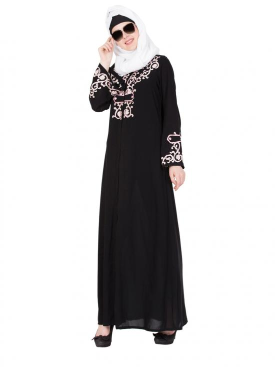 Nida Matte Princess Look Abaya With Embroidery In Black And Pink