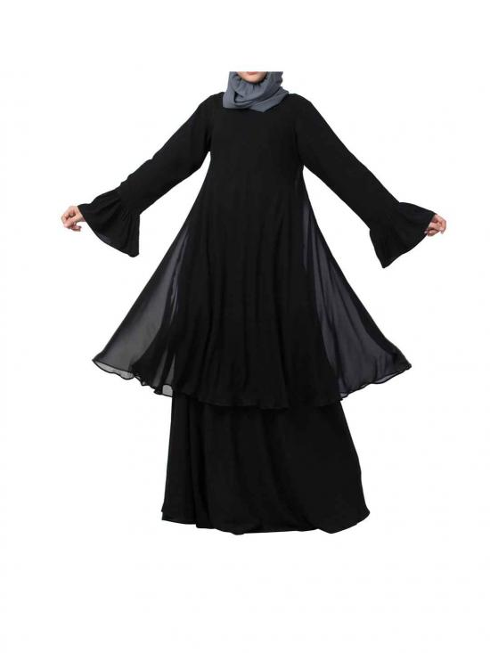 Dual layer Modest Abaya With Bell Sleeves In Black