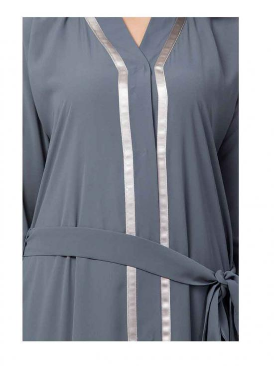 Nida Matte And Georgette Front Open Layered Abaya With Lace Work In Grey