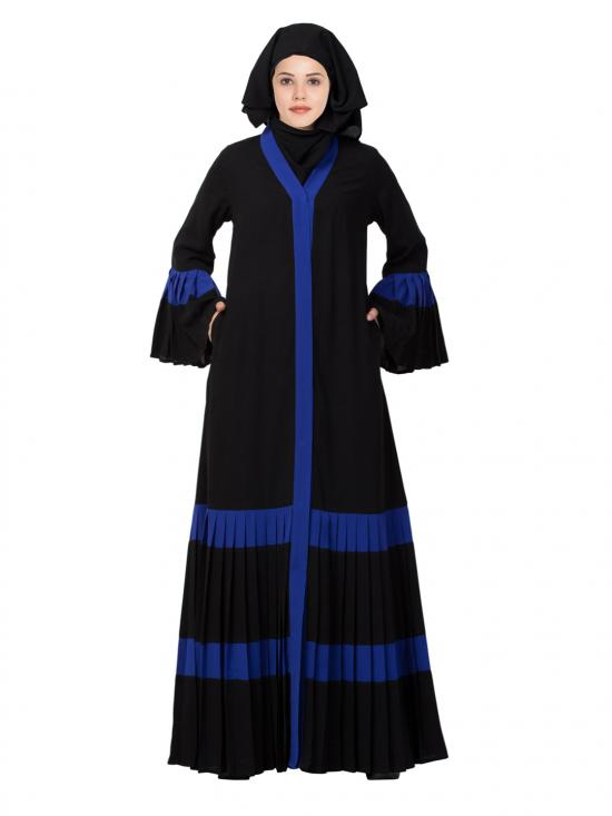 Nida Matte Gorgeous Front Open Abaya with Pleated Bottom and Bell Sleeves In Royal Blue and Black