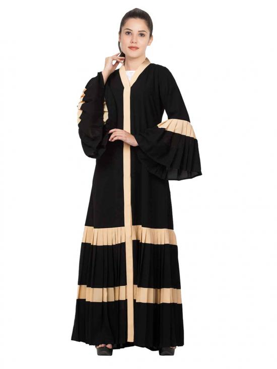NIda Matte Gorgeous Front Open Abaya With Pleated Bottom And Bell Sleeves In Black And Fawn