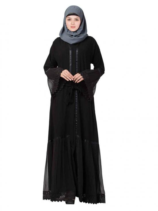 Nida Matte And Georgette Front Open Layered Abaya With Lace Work In Black