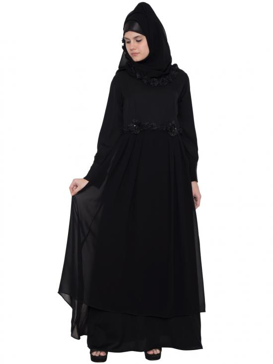 Premium Nida Dania Luxury Abaya In Black