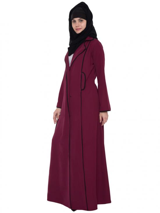 Polytwill Faria Coat Style Abaya in Maroon and Black