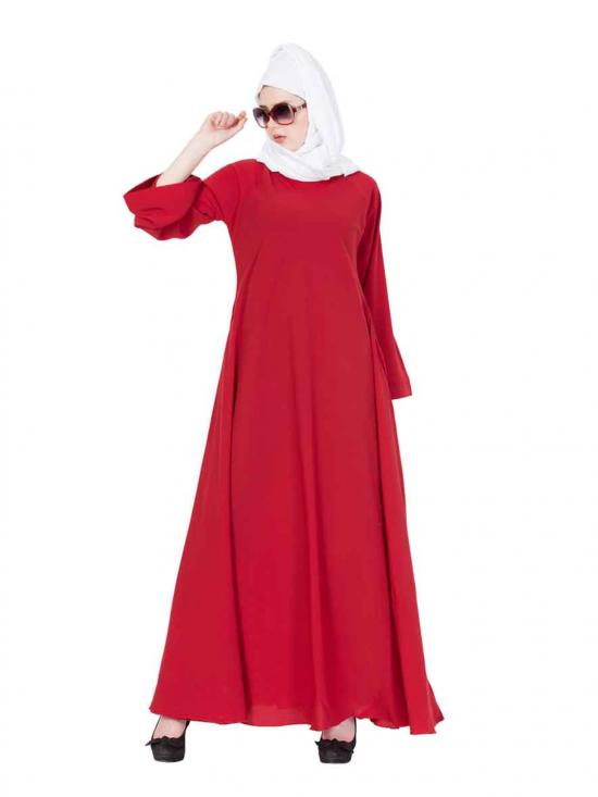 Nida Matte Umbrella Flare Abaya with Biased Cut in Red