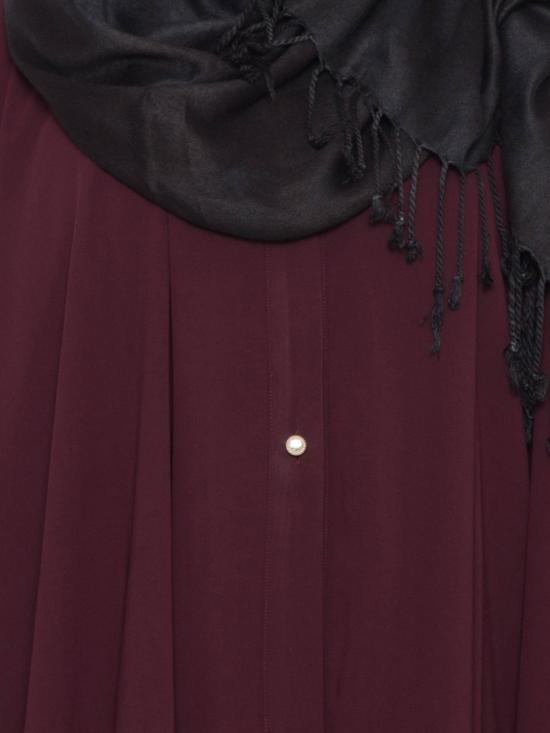 Nida Matte Designer Abaya with Falling Panels and Frilled Bottom in Maroon