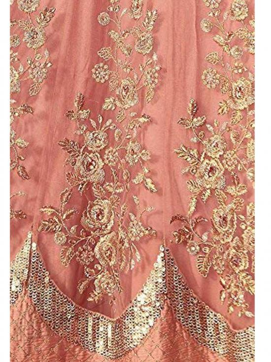 Royal Export Net Floor length Readymade Gown in Peach