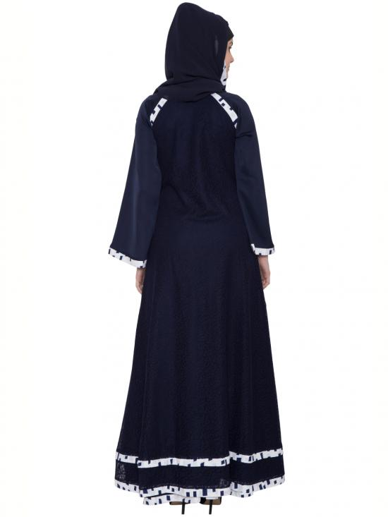 Nida Matte Husn Multi Layered Designer Abaya with Floral Net in Blue