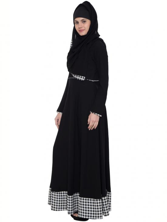 Nida Matte Lubna Check Border Abaya in Black and White