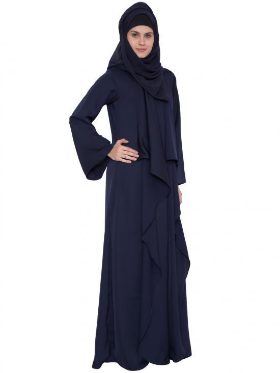 Nida Matte Zeenia Falling Shrug Abaya in Navy Blue