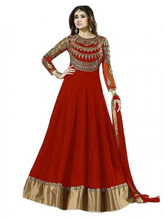 Sojitra Georgette Embroidered Semi Stitched Anarkali Gown in Red