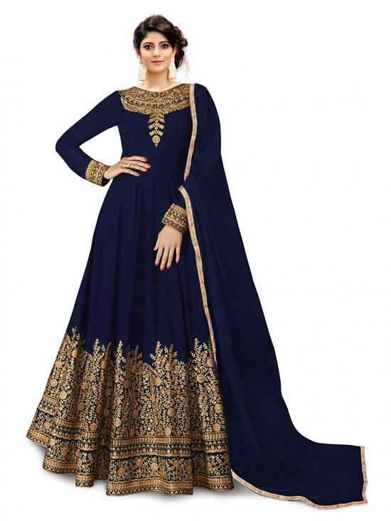 Trilok Fab Cotton Silk Anarkali Gown in Blue