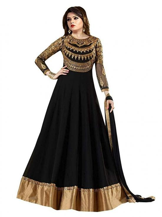 Sojitra Georgette Embroidered Semi Stitched Anarkali Gown in Image