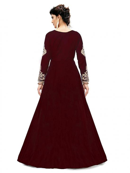 Trilok Fab Cotton Silk Embroidery Anarkali Gown in Red