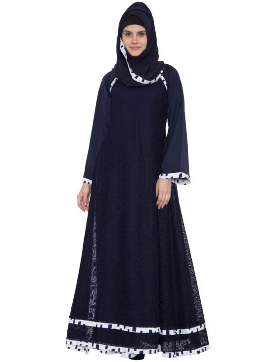 Nida Matte Husn Multi Layered Designer Abaya With Floral Net In Blue