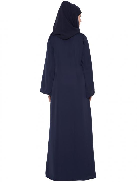 Nida Matte Designer Abaya with Falling Panels and Frilled Bottom in Navy Blue