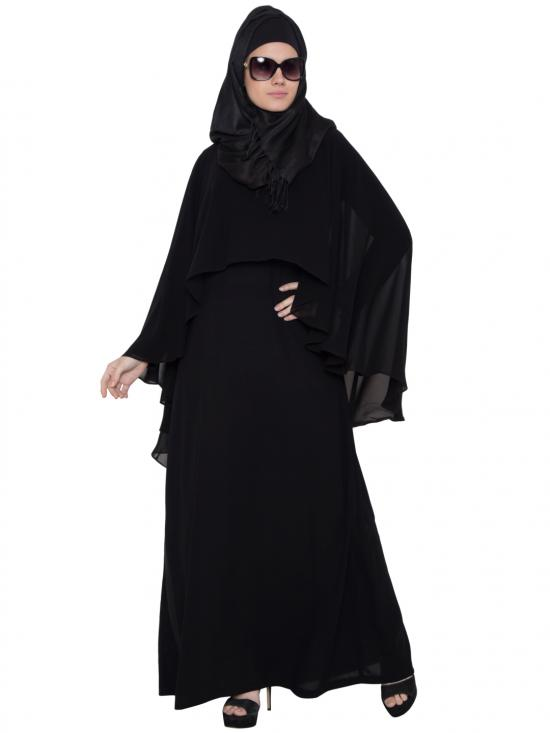Nida Matte Georgette Iqra Cape Abaya in Black
