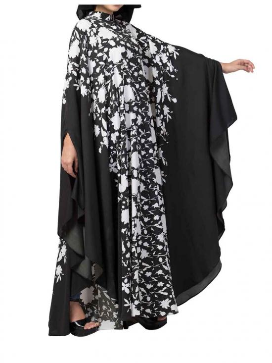 Crepe Printed Irani Kaftan In Black And White