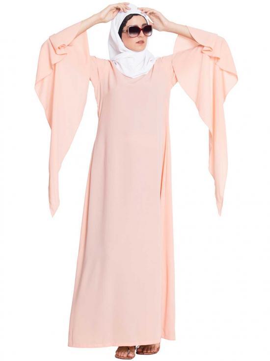 Ella Fairy Sleeves Abaya in Pink