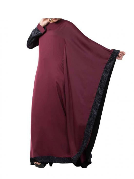 Nida And Brasso Modest Abaya In Burgundy