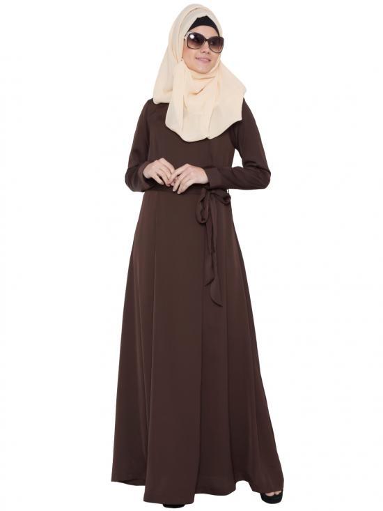 Premium Nida Stylish Abaya With Belt In Dark Brown