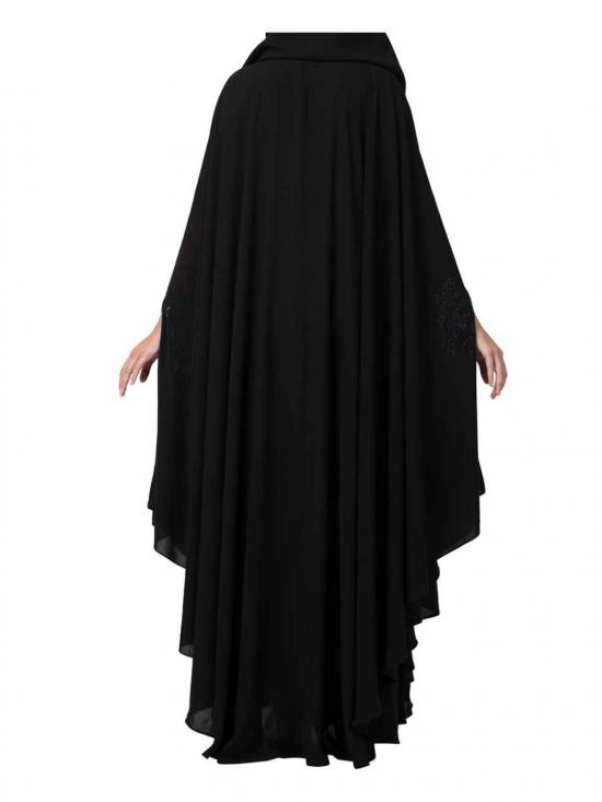 Nida Matte Gorgeous Irani Kaftan With Crystal Stones On Front And Sleeves In Black