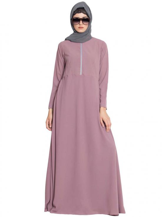 Nida Matte Flared Bottom Abaya With A Zipper On Yoke In Puce Pink
