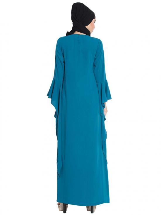 Ella Fairy Sleeves Abaya in Teal