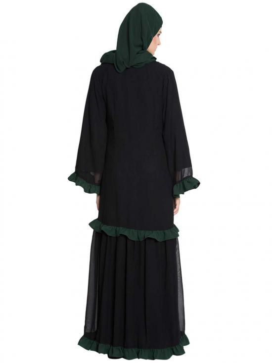 Nida Matte Zeba Double Layer Abaya With Frills in Black and Green