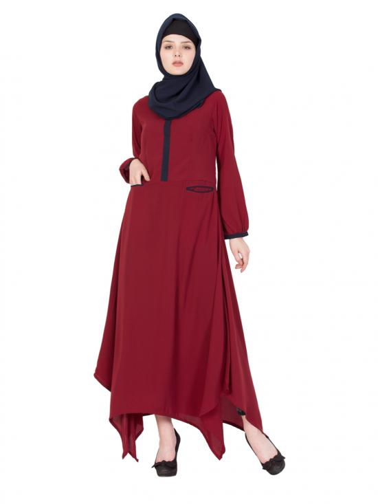 Nida Matte Asymmetrical Long Abaya in Maroon