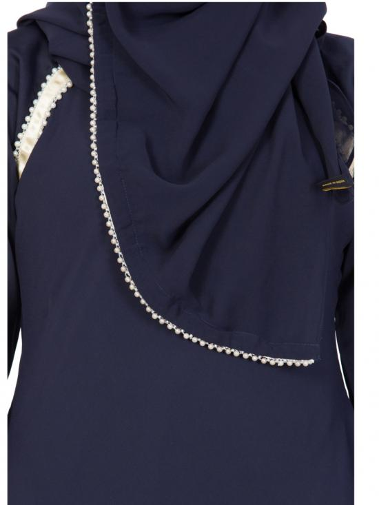 Nida Matte Designer Abaya With Pearl Lace in Navy Blue
