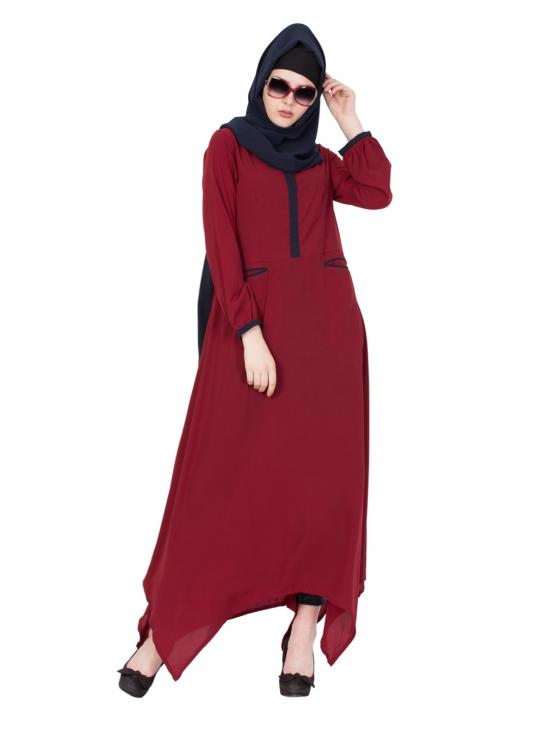 Nida Matte Asymmetrical Long Abaya In Maroon