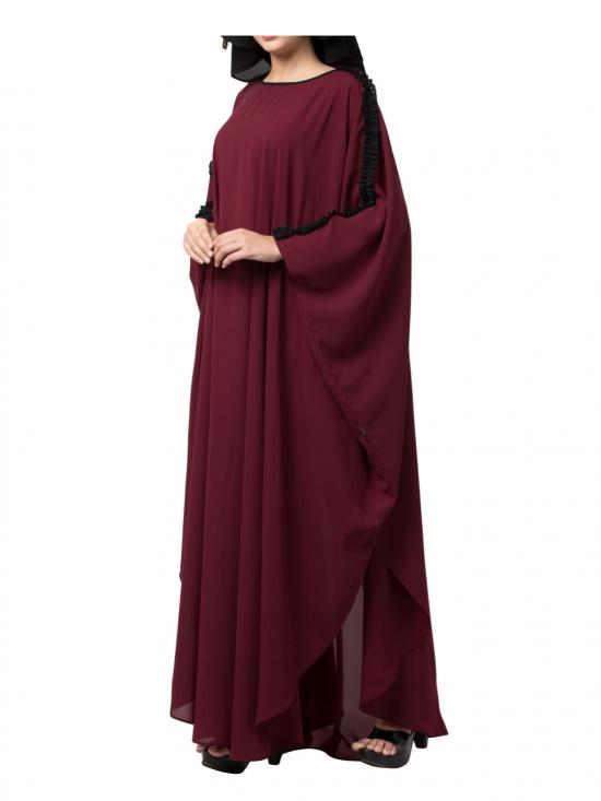 Nida Matte Modern Kaftan With Open Side Slits And Ruffles On Sleeves In Maroon